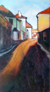Ascending road, dawn (St Ives)
