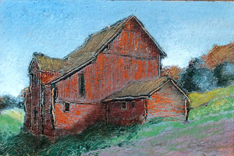 Red barn on a hill (Grand Isle)
