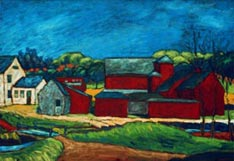 Several red barns (Whigville)