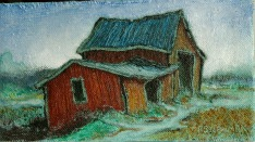 Red barn with blue roof (Hollis)